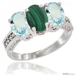 14K White Gold Natural Malachite & Aquamarine Sides Ring 3-Stone Oval 7x5 mm Diamond Accent