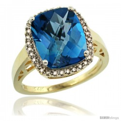 14k Yellow Gold Diamond London Blue Topaz Ring 5.17 ct Checkerboard Cut Cushion 12x10 mm, 1/2 in wide