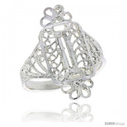 Sterling Silver Wrapped Candy Design Filigree Ring, 7/8 in