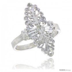 Sterling Silver Navette-shaped Filigree Ring, 7/8 in -Style Fr451