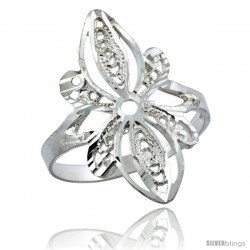 Sterling Silver Floral Filigree Ring, 7/8 in