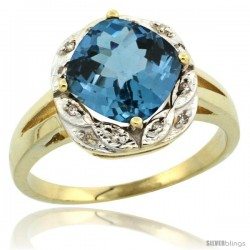 14k Yellow Gold Diamond Halo London Blue Topaz Ring 2.7 ct Checkerboard Cut Cushion Shape 8 mm, 1/2 in wide