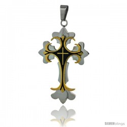 Stainless Steel Cross Fleury Pendant two-tone gold finish Black resin inlay, 2 1/4 in tall with 30 in chain