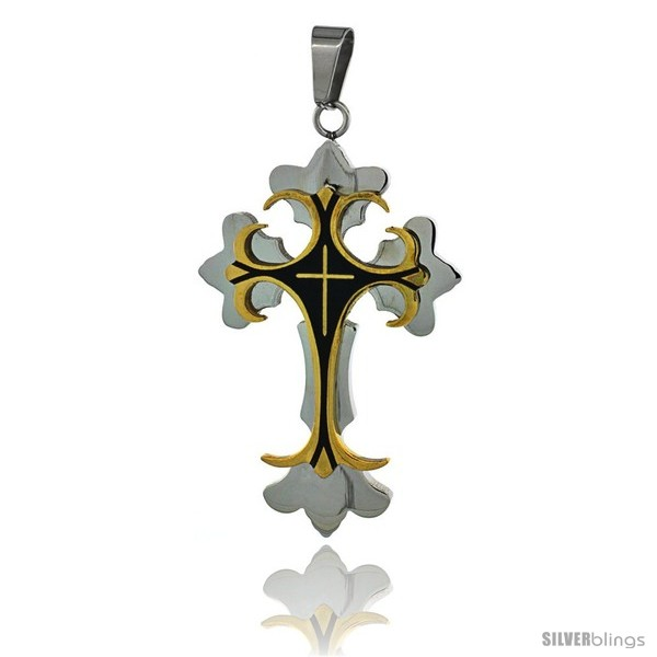 https://www.silverblings.com/3014-thickbox_default/stainless-steel-cross-fleury-pendant-two-tone-gold-finish-black-resin-inlay-2-1-4-in-tall-30-in-chain.jpg