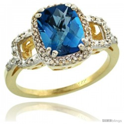 14k Yellow Gold Diamond London Blue Topaz Ring 2 ct Checkerboard Cut Cushion Shape 9x7 mm, 1/2 in wide