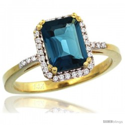 14k Yellow Gold Diamond London Blue Topaz Ring 1.6 ct Emerald Shape 8x6 mm, 1/2 in wide -Style Cy405129