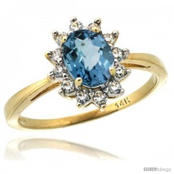 14k Yellow Gold Diamond Halo London Blue Topaz Ring 0.85 ct Oval Stone 7x5 mm, 1/2 in wide