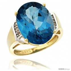 14k Yellow Gold Diamond London Blue Topaz Ring 9.7 ct Large Oval Stone 16x12 mm, 5/8 in wide