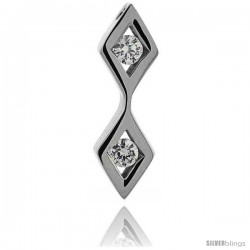Stainless Steel Double Diamond Shape Pendant w/ 4 mm Crystals, 1 1/4 in (32 mm) tall, w/ 30 in Chain