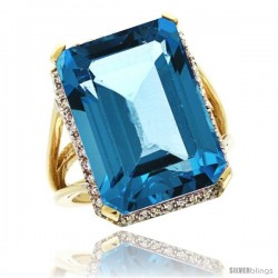 14k Yellow Gold Diamond London Blue Topaz Ring 14.96 ct Emerald shape 18x13 mm Stone, 13/16 in wide