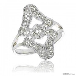 Sterling Silver Double Heart Filigree Ring, 3/4 in