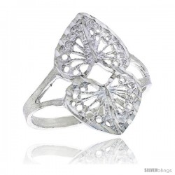 Sterling Silver Double Heart Filigree Ring, 3/4 in -Style Fr454