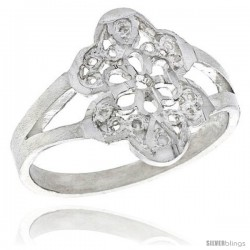 Sterling Silver Floral Filigree Ring, 5/8 in