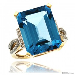 14k Yellow Gold Diamond London Blue Topaz Ring 12 ct Emerald Shape 16x12 Stone 3/4 in wide