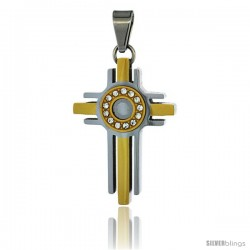 Stainless Steel Halo Cross Pendant CZ Stones 2-tone Gold Finish, 1 1/2 in tall with 30 in chain