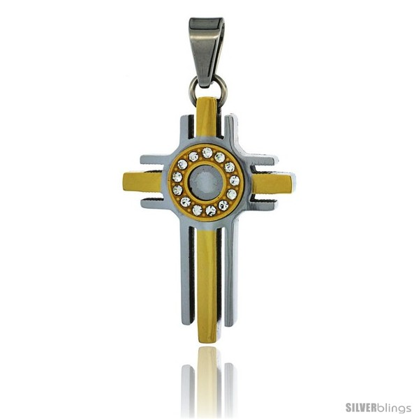 https://www.silverblings.com/3018-thickbox_default/stainless-steel-halo-cross-pendant-cz-stones-2-tone-gold-finish-1-1-2-in-tall-30-in-chain.jpg