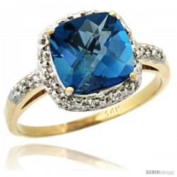 14k Yellow Gold Diamond London Blue Topaz Ring 2.08 ct Cushion cut 8 mm Stone 1/2 in wide
