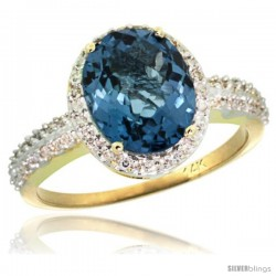 14k Yellow Gold Diamond London Blue Topaz Ring Oval Stone 10x8 mm 2.4 ct 1/2 in wide