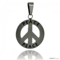 Surgical Steel Peace Sign Pendant 3/4 in, w/ 30 in Chain