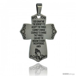 Surgical Steel The Serenity Prayer Cross Pendant 1 5/16 in (33 mm), w/ 30 in Chain