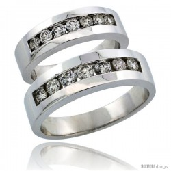 10k White Gold 2-Piece His (6.5mm) & Hers (5.5mm) Diamond Wedding Ring Band Set w/ 0.96 Carat Brilliant Cut Diamonds