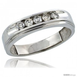 10k White Gold 5-Stone Men's Diamond Ring Band w/ 0.46 Carat Brilliant Cut Diamonds, 1/4 in. (6mm) wide