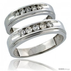 10k White Gold 2-Piece His (6mm) & Hers (5mm) Diamond Wedding Ring Band Set w/ 0.67 Carat Brilliant Cut Diamonds