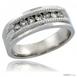 10k White Gold 7-Stone Milgrain Design Ladies' Diamond Ring Band w/ 0.22 Carat Brilliant Cut Diamonds, 1/4 in. (6.5mm) wide
