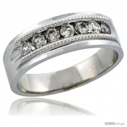 10k White Gold 7-Stone Milgrain Design Men's Diamond Ring Band w/ 0.64 Carat Brilliant Cut Diamonds, 9/32 in. (7mm) wide