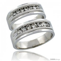 10k White Gold 2-Piece His (7mm) & Hers (6.5mm) Milgrain Design Diamond Wedding Ring Band Set w/ 0.86 Carat Brilliant Cut