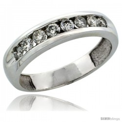 10k White Gold 8-Stone Ladies' Diamond Ring Band w/ 0.47 Carat Brilliant Cut Diamonds, 3/16 in. (4.5mm) wide