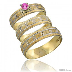 10k Gold 3-Piece Trio Pink Sapphire Wedding Ring Set Him & Her 0.10 ct Rhodium Accent Diamond-cut Pattern -Style 10y505w3