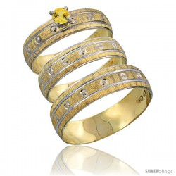 10k Gold 3-Piece Trio Yellow Sapphire Wedding Ring Set Him & Her 0.10 ct Rhodium Accent Diamond-cut Pattern -Style 10y505w3
