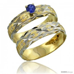 10k Gold Ladies' 2-Piece 0.25 Carat Deep Blue Sapphire Engagement Ring Set Diamond-cut Pattern Rhodium Accent, -Style 10y506e2