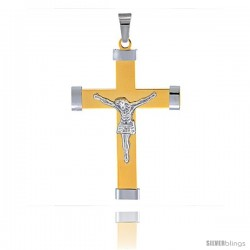 Stainless Steel Crucifix Pendant 2-tone Gold finish 2 3/8 in tall, w/ 30 in Chain