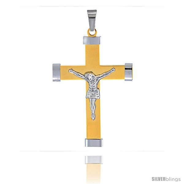 https://www.silverblings.com/3032-thickbox_default/stainless-steel-crucifix-pendant-2-tone-gold-finish-2-3-8-in-tall-w-30-in-chain.jpg