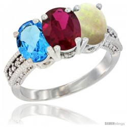 14K White Gold Natural Swiss Blue Topaz, Ruby & Opal Ring 3-Stone 7x5 mm Oval Diamond Accent