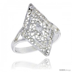 Sterling Silver Diamond-shaped Filigree Ring, 7/8 in