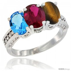 14K White Gold Natural Swiss Blue Topaz, Ruby & Tiger Eye Ring 3-Stone 7x5 mm Oval Diamond Accent