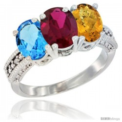 14K White Gold Natural Swiss Blue Topaz, Ruby & Whisky Quartz Ring 3-Stone 7x5 mm Oval Diamond Accent