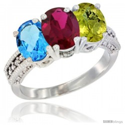 14K White Gold Natural Swiss Blue Topaz, Ruby & Lemon Quartz Ring 3-Stone 7x5 mm Oval Diamond Accent