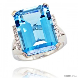 14k White Gold Diamond Swiss Blue Topaz Ring 12 ct Emerald Cut 16x12 stone 3/4 in wide