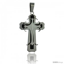 Stainless Steel Cross Pendant 2-tone Gold Finish, 1 3/4 in tall, w/ 30 in Chain