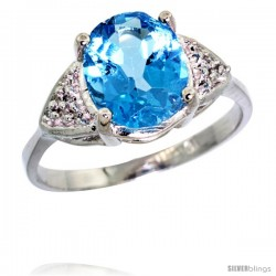 14k White Gold Diamond Swiss Blue Topaz Ring 2.40 ct Oval 10x8 Stone 3/8 in wide