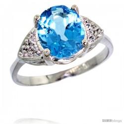14k White Gold Diamond Swiss Blue Topaz Ring 2.40 ct Oval 10x8 Stone 3/8 in wide