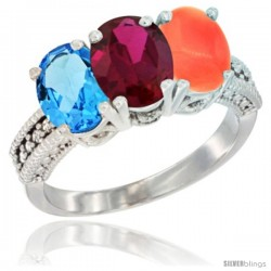 14K White Gold Natural Swiss Blue Topaz, Ruby & Coral Ring 3-Stone 7x5 mm Oval Diamond Accent
