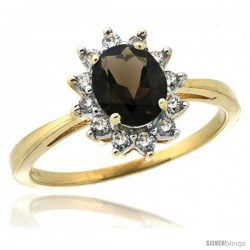 10k Yellow Gold Diamond Halo Smoky Topaz Ring 0.85 ct Oval Stone 7x5 mm, 1/2 in wide