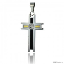 Stainless Steel Cross Pendant CZ Stones 3-color Black & Gold, 1 3/4 in tall, w/ 30 in Chain