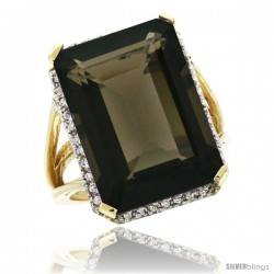10k Yellow Gold Diamond Smoky Topaz Ring 14.96 ct Emerald shape 18x13 mm Stone, 13/16 in wide