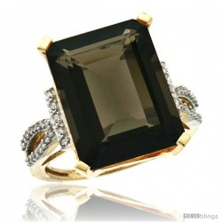 10k Yellow Gold Diamond Smoky Topaz Ring 12 ct Emerald Shape 16x12 Stone 3/4 in wide